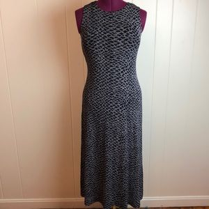 Vintage 80s/90s Black White Sleeveless Maxi Dress